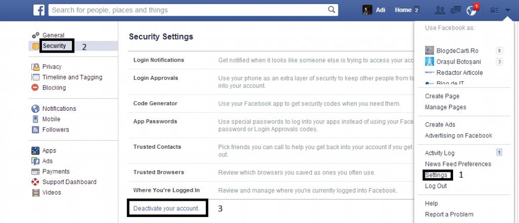 cum se sterge un cont de facebook