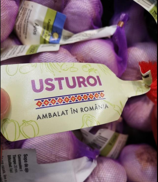 Usturoi din Spania ambalat în România - la Carrefour